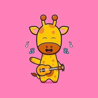 Cute giraffe playing guitar cartoon icon illustration. design isolated flat cartoon style