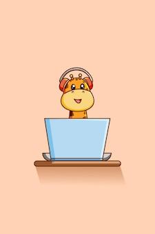 ノートパソコンの動物の漫画イラストで音楽を再生するかわいいキリン