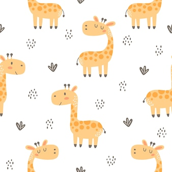 Cute giraffe seamless pattern background