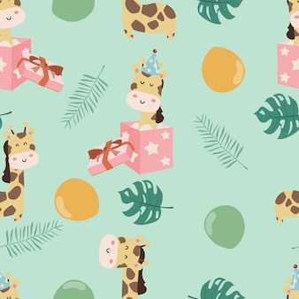 Cute giraffe seamless pattern
