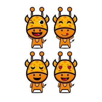 Cute giraffe set collection vector illustration giraffe mascot character flat style cartoon