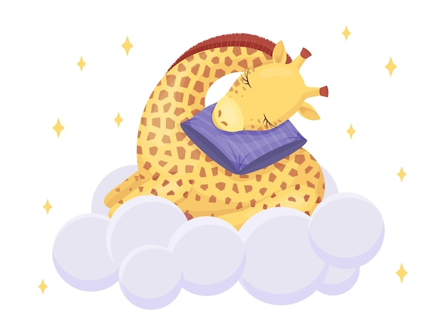 Cute giraffe sleeping on cloud with soft pillow. kawaii character. vector children illustration. isolated on white.