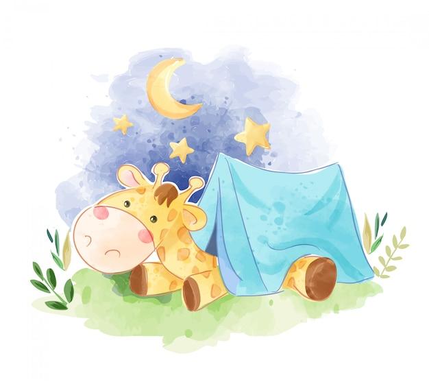 Cute giraffe sleeping in the tent illustration