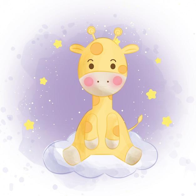 Cute giraffe standing on a cloud in watercolor style