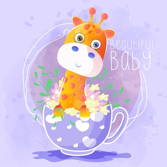Cute giraffe in the tea cup