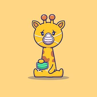 Cute giraffe wearing mask cartoon vector icon illustration. animal and health icon concept isolated premium vector. flat cartoon style