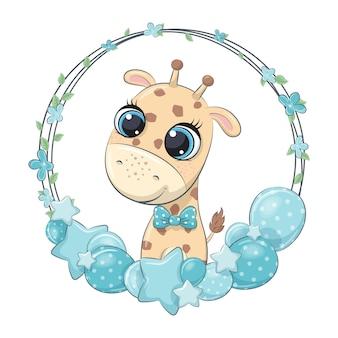 Милый жираф с воздушным шаром и венком.