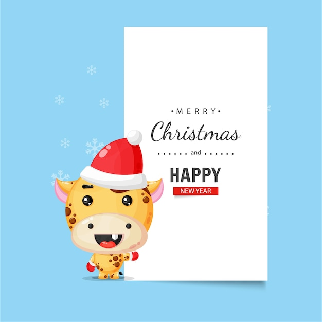 Cute giraffe with christmas wishes
