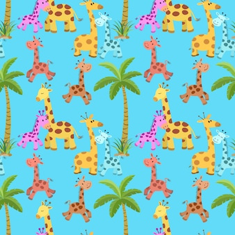 Cute giraffe with coconut tree seamless pattern