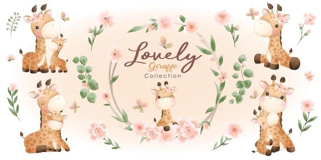꽃 컬렉션 귀여운 기린