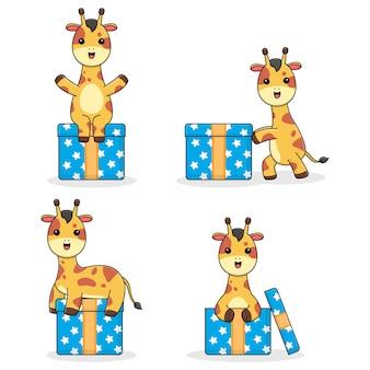 Cute giraffe with gift box