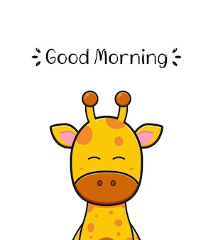 Cute giraffe with good morning greeting card cartoon icon illustration flat cartoon style