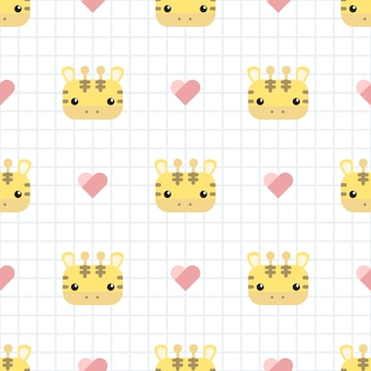 Cute giraffe with grid cartoon seamless pattern