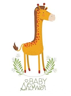 Cute giraffe with wreath baby shower card