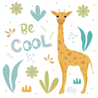 Cute giraffe and the words on the background with tropical plants