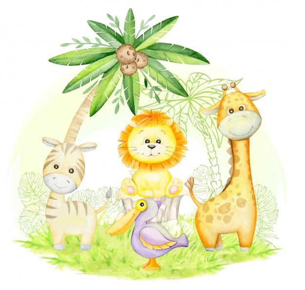 야자수 아래 귀여운 기린, 얼룩말, 사자 새끼, 펠리컨. 만화 스타일의 귀여운 열대 동물. 수채화 개념.