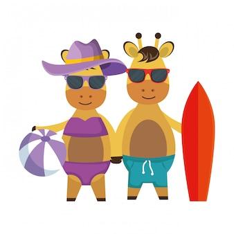 Cute giraffes couple with surfboard and balloon beach