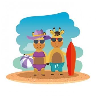 Cute giraffes couple with surfboard and balloon on the beach
