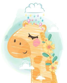 인사말 카드를위한 편안한 하루를위한 귀여운 기린