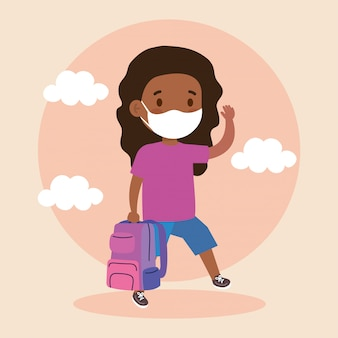 Cute girl afro student wearing medical mask to prevent coronavirus covid 19 with school bag