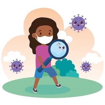 야외에 귀여운 돋보기와 코로나 바이러스 covid 19를 방지하기 위해 의료 마스크를 쓰고 귀여운 소녀 아프리카