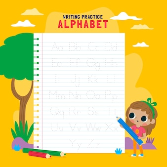 かわいい女の子のアルファベット追跡テンプレート