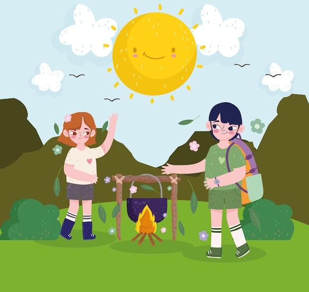 귀여운 소녀와 소년 캠핑