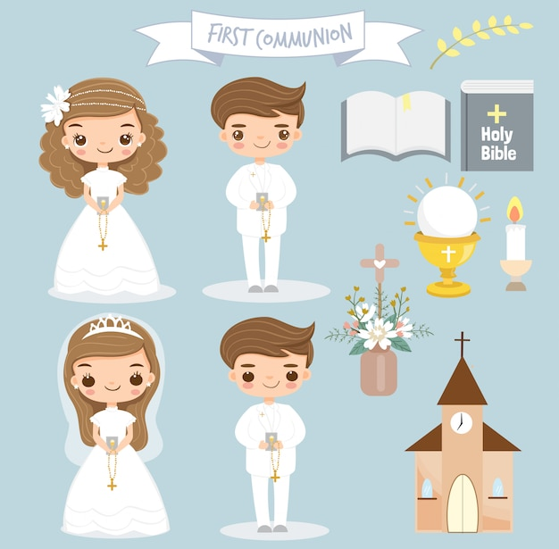 かわいい女の子と男の子が最初の聖体拝領をしています。 Premiumベクター