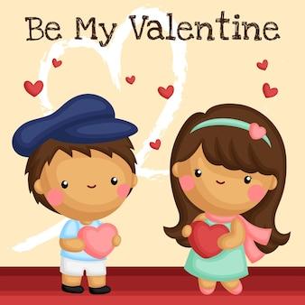 Симпатичная девочка и мальчик, демонстрирующие любовь на день святого валентина