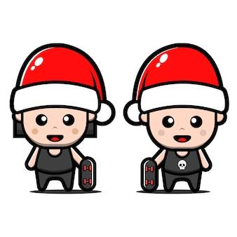 Симпатичная девочка и мальчик в шляпе санта-клауса. рождественская концепция