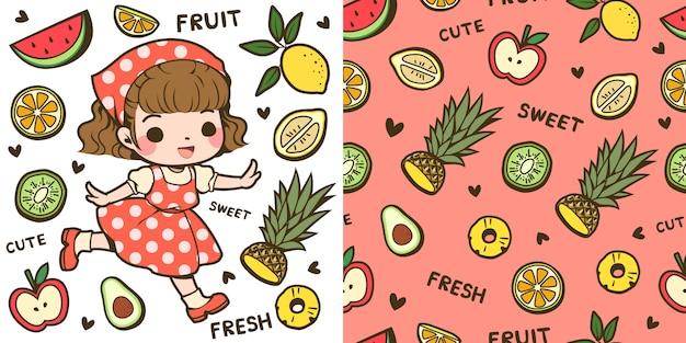 귀여운 소녀와 과일