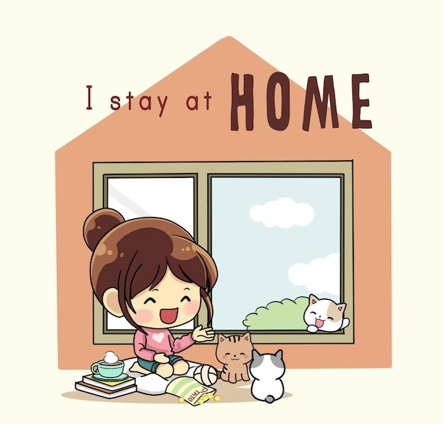 귀여운 소녀와 그녀의 고양이는 집에 있는 예술 삽화