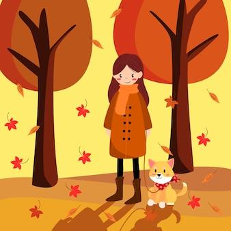 Симпатичная девушка и ее собака на осеннем фоне.
