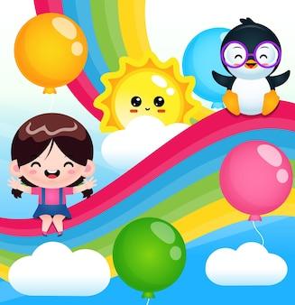虹の上に座っているかわいい女の子とペンギン