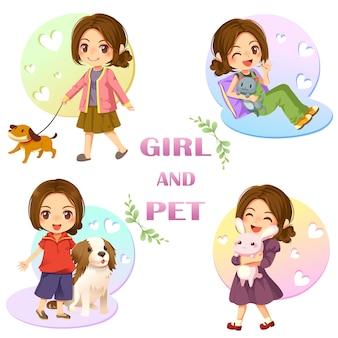 Милая девушка и домашнее животное концепция
