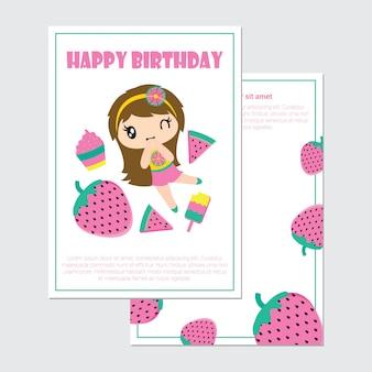 생일 카드 귀여운 소녀와 여름 과일