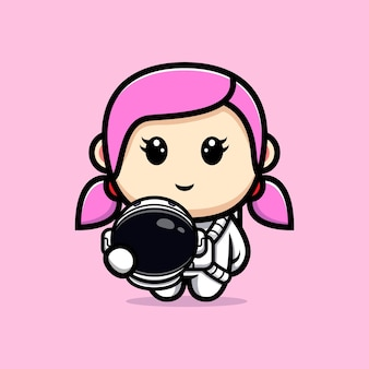 귀여운 소녀 우주 비행사 마스코트 디자인