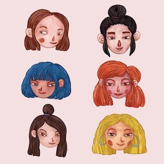 Симпатичные девушки аватары иллюстрация
