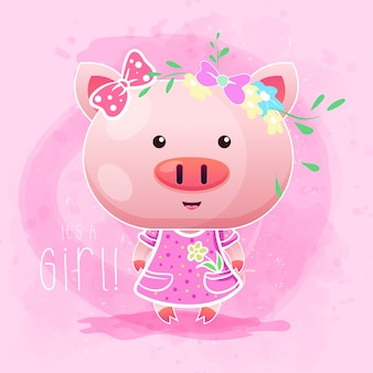 Cute girl baby pig with pink background. vector