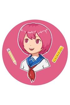 Симпатичная девочка обратно в школу иллюстрации шаржа