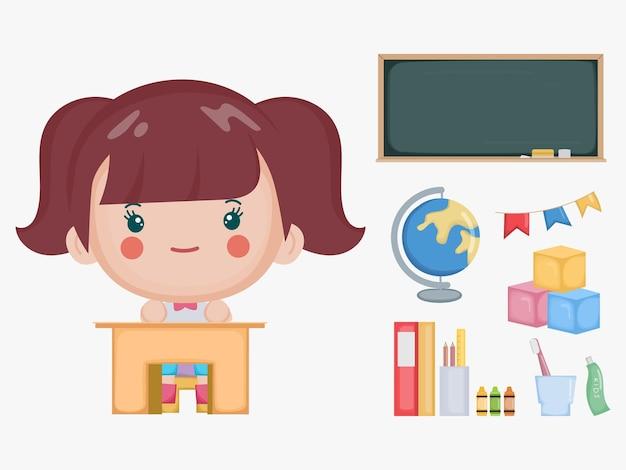 教室で学校のコンセプトに戻るかわいい女の子。