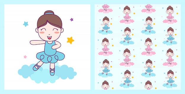 Cute girl ballerina dance blue custom on the cloud with seamless pattern