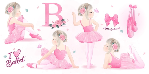 Cute girl ballerina  watercolor illustration set