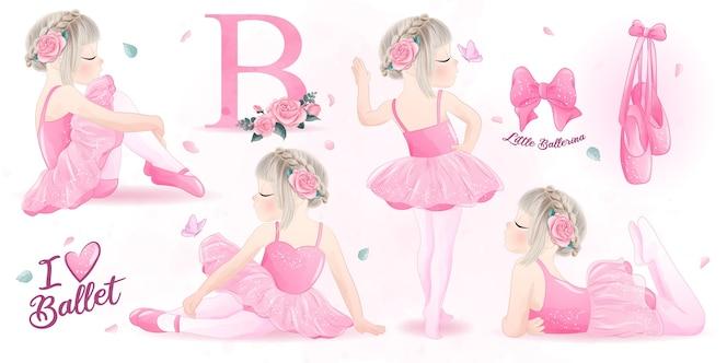 かわいい女の子バレリーナ水彩イラストセット