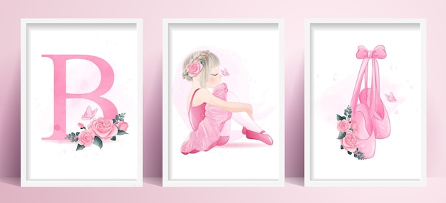 Cute girl ballerina with set watercolor illustration