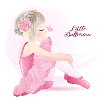 Cute girl ballerina with watercolor illustration