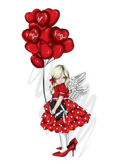 Cute girl and balloons hearts