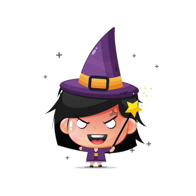 Cute girl becomes a witch