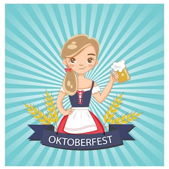Cute girl and beer glass on oktoberfest poster