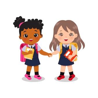 手をつないで一緒に学校に通うかわいい女の子の親友。教育用クリップアート。